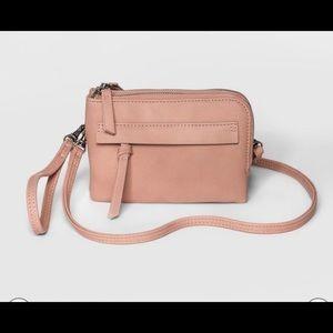Small Zip Crossbody Wristlet Purse Bag Blushing
